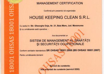 ISO 18001 - Sanatate si securitate ocupationala RO
